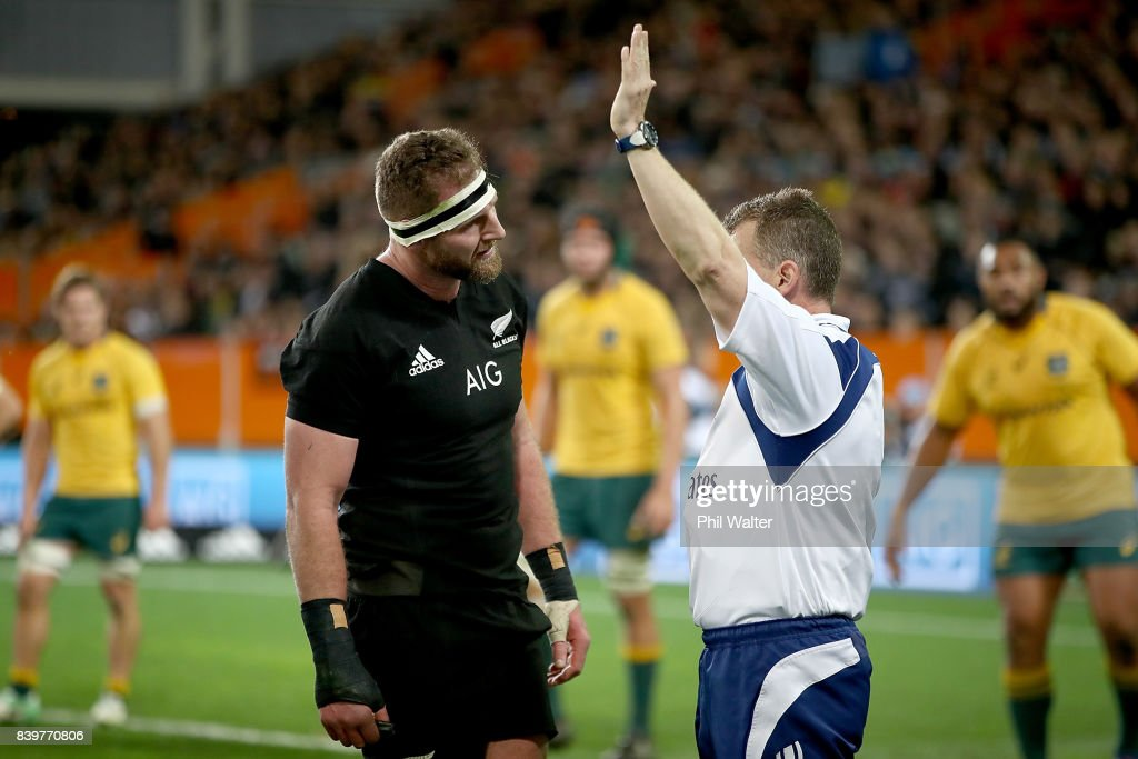 Kieran Read of the All Blacks and referee Wayne Barnes during The Rugby Championship Bledisloe Cup match between the New Zealand All Blacks and the Australia Wallabies at Forsyth Barr Stadium on August 26, 2017 in Dunedin, New Zealand.