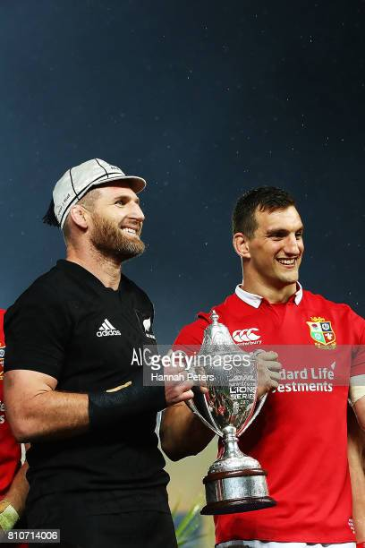 Kieran Read of the All Blacks and Sam Warburton of the Lions hold the DHL series trophy after drawing the series following the Test match between the...