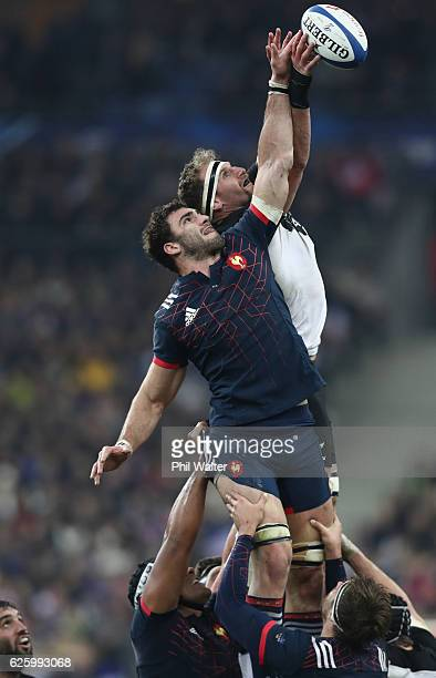 Kieran Read of the All Blacks and Yoann Maestri of France compete for the ball in the lineout during the international rugby match between France and...