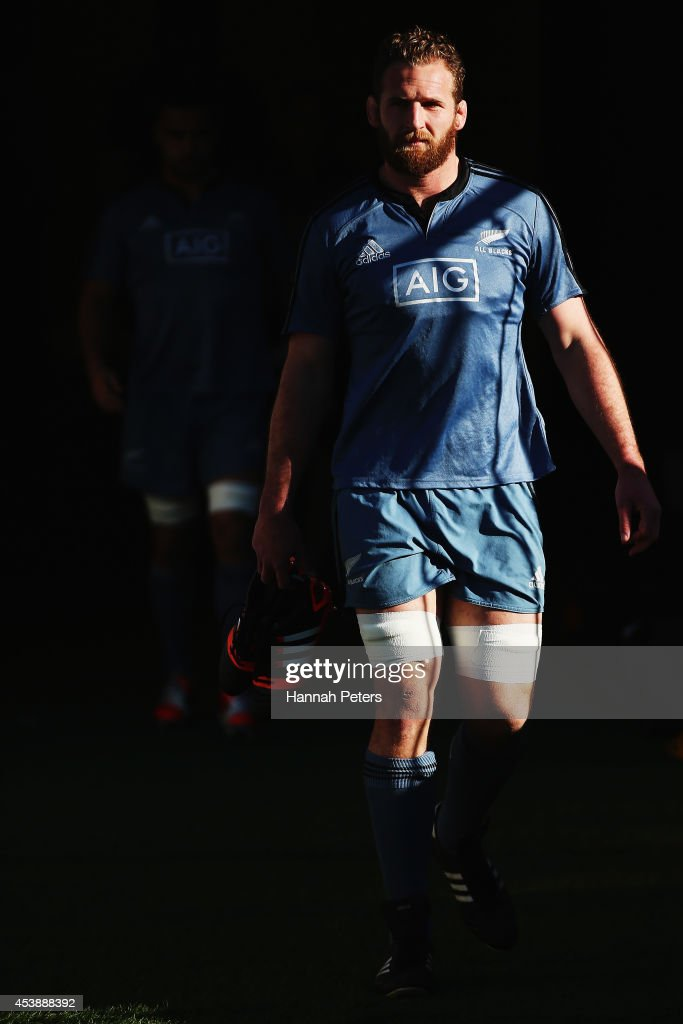 Kieran Read of the All Blacks arrives for a New Zealand All Blacks training session at Eden Park on August 21 2014 in Auckland New Zealand