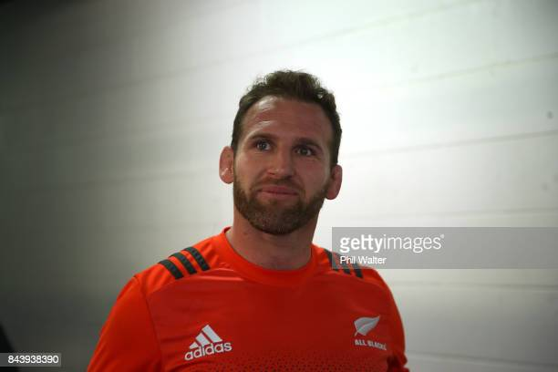 Kieran Read of the All Blacks arrives for the New Zealand All Blacks captain's run at Yarrow Stadium on September 8 2017 in New Plymouth New Zealand