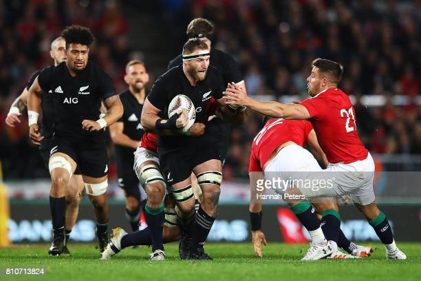 Kieran Read of the All Blacks charges forward during the Test match between the New Zealand All Blacks and the British Irish Lions at Eden Park on...