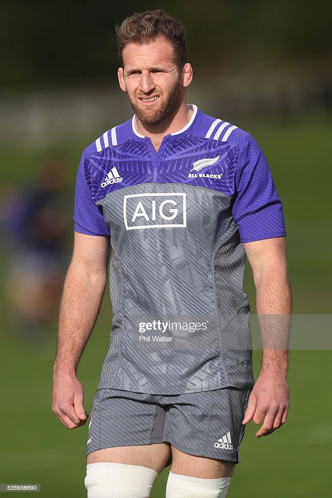 Kieran Read of the All Blacks during a New Zealand All Blacks training session at Trusts Stadium on May 31, 2016 in Auckland, New Zealand.