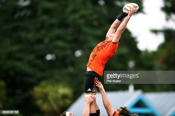 Kieran Read of the All Blacks during a New Zealand All Blacks training session at Trusts Stadium on June 22 2017 in Auckland New Zealand
