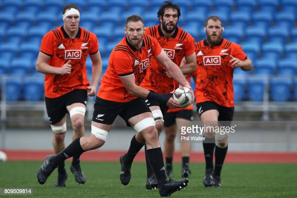Kieran Read of the All Blacks during a New Zealand All Blacks training session at Trusts Stadium on July 6 2017 in Auckland New Zealand