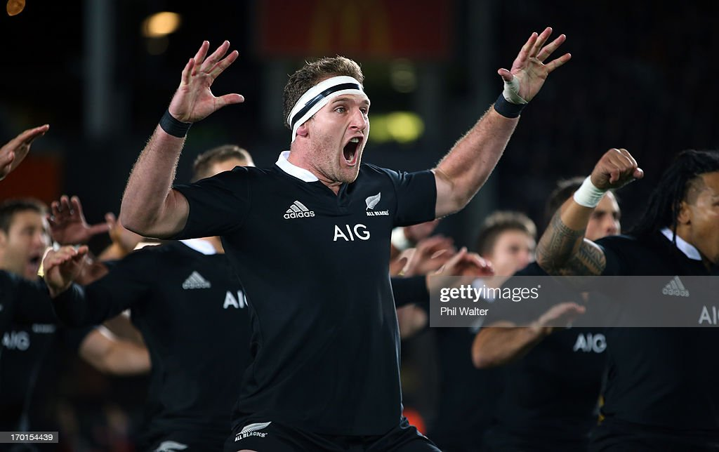 Kieran Read of the All Blacks leads the haka during the first test match between the New Zealand All Blacks and France at Eden Park on June 8 2013 in...