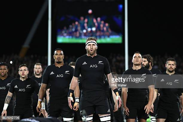 Kieran Read of the All Blacks leads the haka during the Rugby Championship match between the New Zealand All Blacks and the South Africa Springboks...