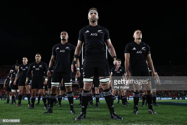 Kieran Read of the All Blacks leads the haka during the Test match between the New Zealand All Blacks and the British Irish Lions at Eden Park on...