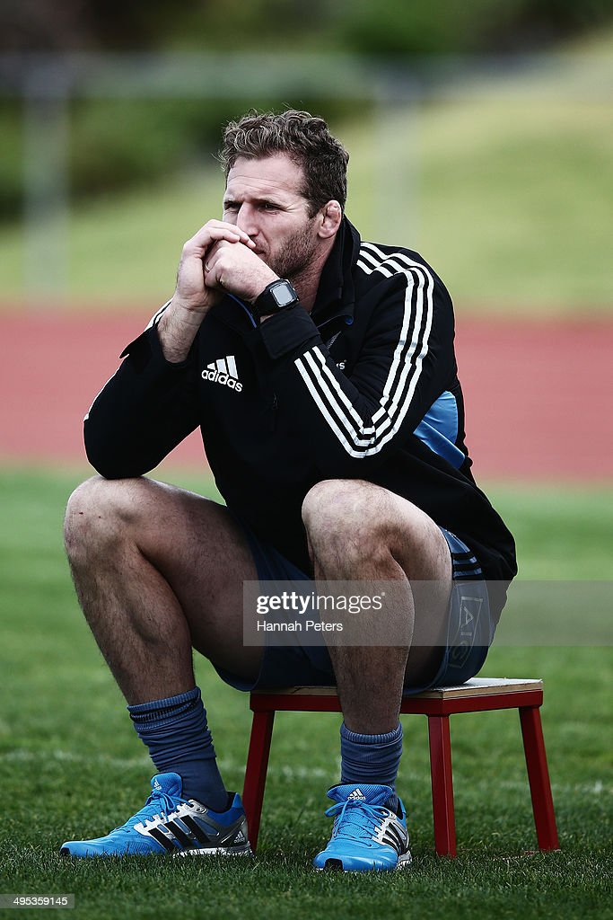 Kieran Read of the All Blacks looks on from the sidelines during a New Zealand All Blacks training session at Trusts Stadium on June 3 2014 in...