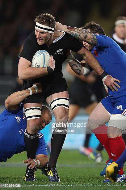 Kieran Read of the All Blacks makes a break during the first test match between the New Zealand All Blacks and France at Eden Park on June 8 2013 in...