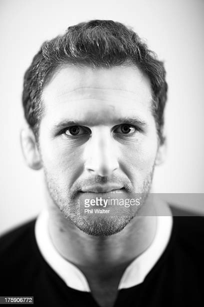 Kieran Read of the All Blacks poses during a New Zealand All Blacks portrait sessoin on August 10 2013 in Wellington New Zealand