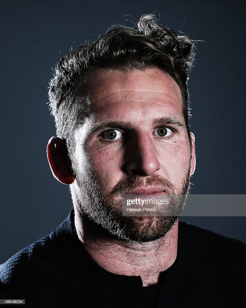 Kieran Read of the All Blacks poses during a New Zealand All Blacks portrait session on October 26 2014 in Auckland New Zealand