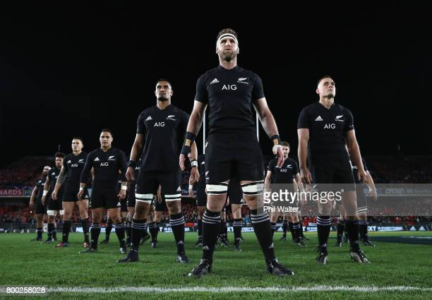 Kieran Read of the All Blacks prepares to perform the Haka with his team during the first test match between the New Zealand All Blacks and the...