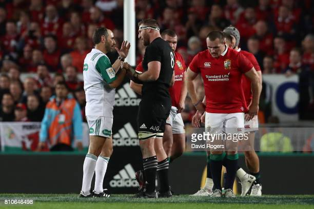 Kieran Read of the All Blacks remonstrates with Referee Romain Poite of France after he awards a scrum rather than a penalty in the last minute...