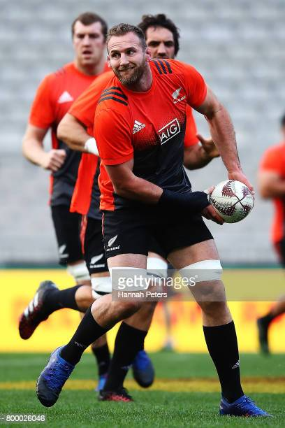 Kieran Read of the All Blacks runs through drills during the New Zealand All Blacks Captain's Run at Eden Park on June 23 2017 in Auckland New Zealand