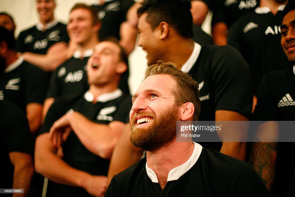 Kieran Read of the All Blacks sits for the official All Black team photo at the Heritage Hotel on August 9 2014 in Auckland New Zealand