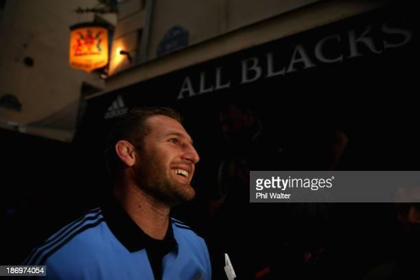 Kieran Read of the All Blacks speaks to media during a New Zealand All Blacks media session in St Germain on November 5 2013 in Paris France
