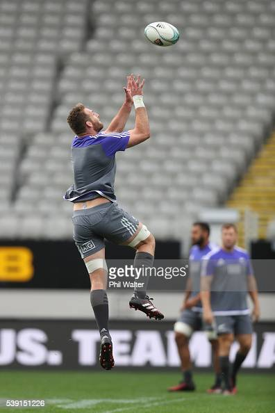 Kieran Read of the All Blacks takes a catch during the New Zealand All Blacks Captain's Run at Eden Park on June 10 2016 in Auckland New Zealand