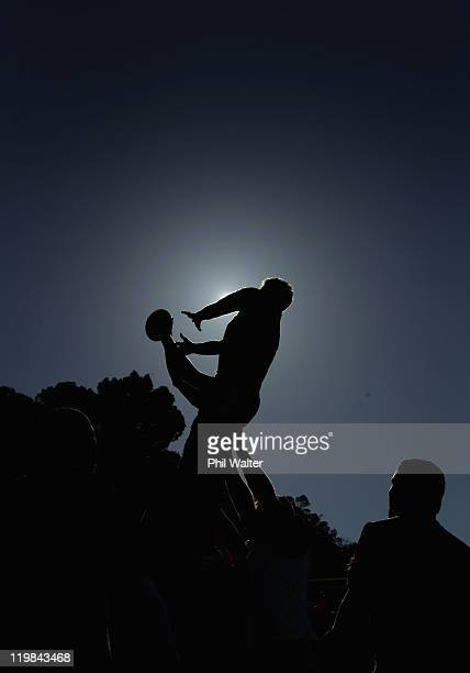 Kieran Read of the All Blacks takes the ball in the lineout during a New Zealand All Blacks training session at Rugby League Park on July 26 2011 in...