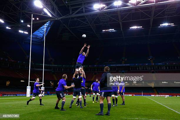 Kieran Read of the All Blacks takes the ball in the lineout during a New Zealand All Blacks Captain's Run at Millenium Stadium on October 16 2015 in...
