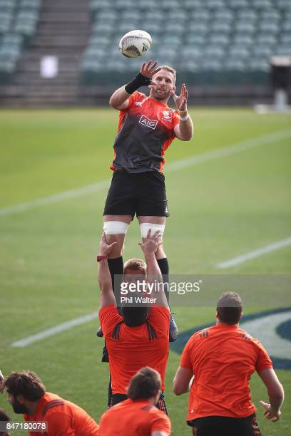 Kieran Read of the All Blacks takes the ball in the lineout during a New Zealand All Blacks Captain's Run at QBE Stadium on September 15 2017 in...