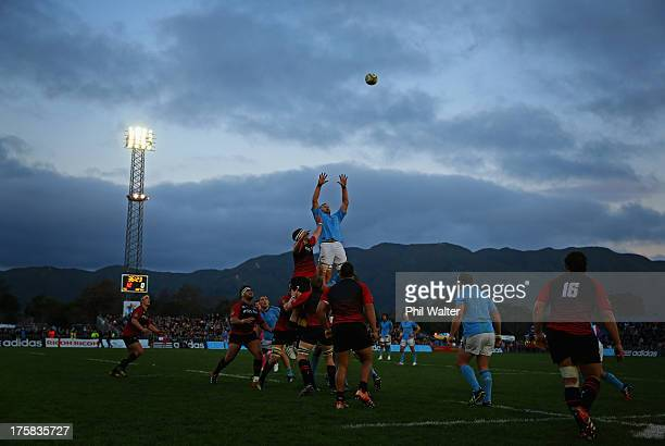 Kieran Read of the All Blacks takes the ball in the lineout during the All Black training match against Canterbury at the Hutt Recreation Ground on...