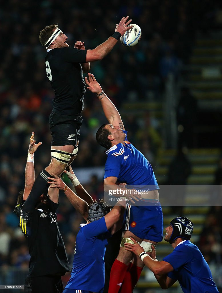 <a gi-track='captionPersonalityLinkClicked' href=/galleries/search?phrase=Kieran+Read&family=editorial&specificpeople=789465 ng-click='$event.stopPropagation()'>Kieran Read</a> of the All Blacks takes the ball in the lineout over <a gi-track='captionPersonalityLinkClicked' href=/galleries/search?phrase=Yoann+Maestri&family=editorial&specificpeople=6704761 ng-click='$event.stopPropagation()'>Yoann Maestri</a> of France during the International Test match between the New Zealand All Blacks and France at AMI Stadium on June 15, 2013 in Christchurch, New Zealand.