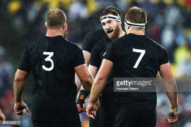 Kieran Read of the All Blacks talks to Owen Franks and Sam Cane during the International Test match between the New Zealand All Blacks and the...