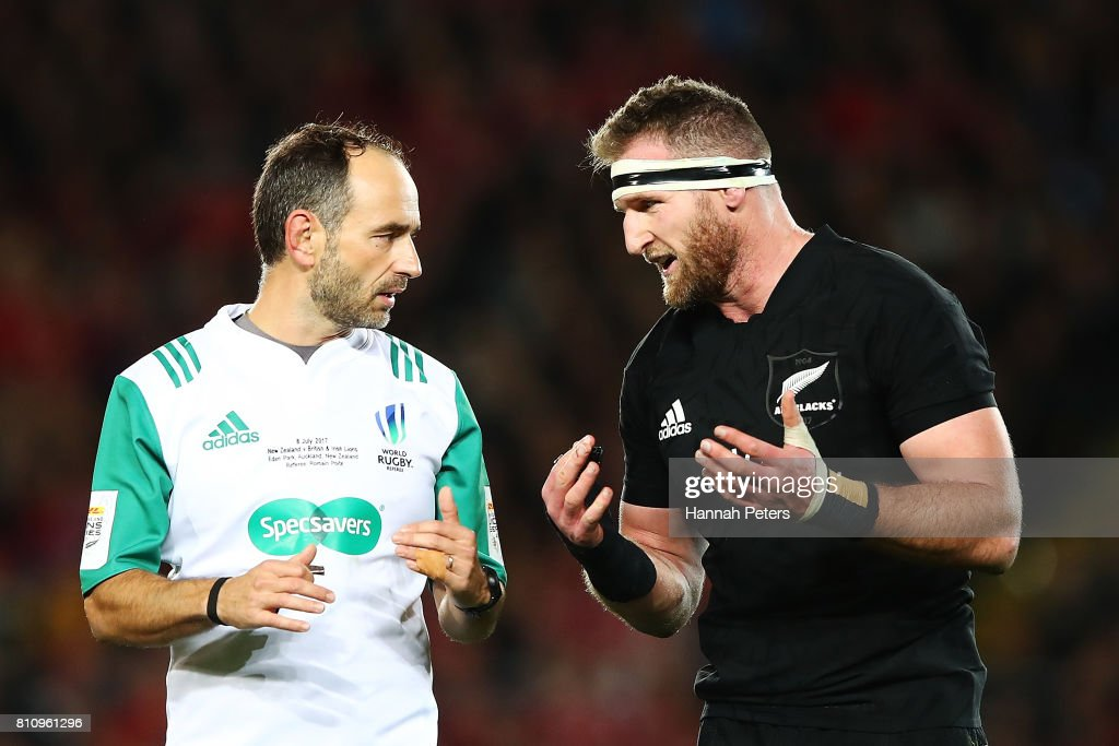 Kieran Read of the All Blacks talks to referee Romain Poite during the Test match between the New Zealand All Blacks and the British & Irish Lions at Eden Park on July 8, 2017 in Auckland, New Zealand.