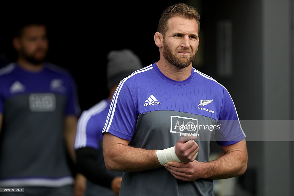 Kieran Read of the All Blacks walks onto the field during the New Zealand All Blacks Captain's Run at Eden Park on June 10 2016 in Auckland New...