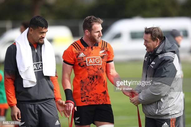 Kieran Read of the All Blacks with Vaea Fifita and Steve Hansen during a New Zealand All Blacks training session at Alexandra Park on September 12...