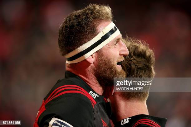 Kieran Read of the Canterbury Crusaders celebrates after scoring a try during the Super Rugby match between New Zealand's Canterbury Crusaders and...