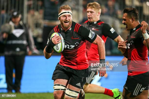 Kieran Read of the Canterbury Crusaders runs in to score a try during the Super Rugby match between New Zealand's Canterbury Crusaders and South...