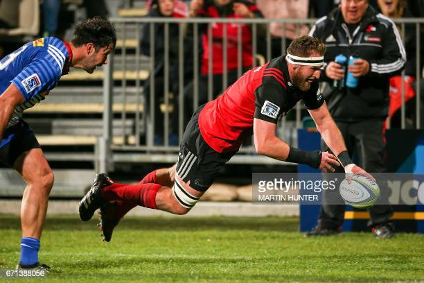 Kieran Read of the Canterbury Crusaders scores a try during the Super Rugby match between New Zealand's Canterbury Crusaders and South Africa's...