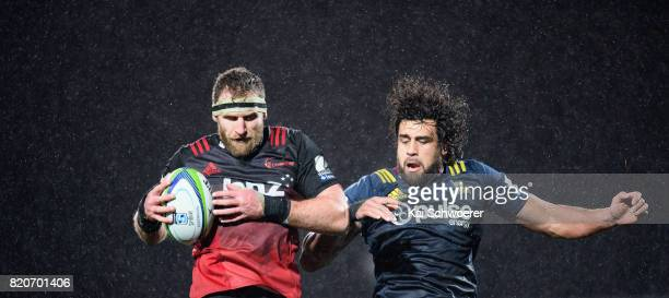 Kieran Read of the Crusaders and Jackson Hemopo of the Highlanders compete for a lineout during the Super Rugby Quarter Final match between the...