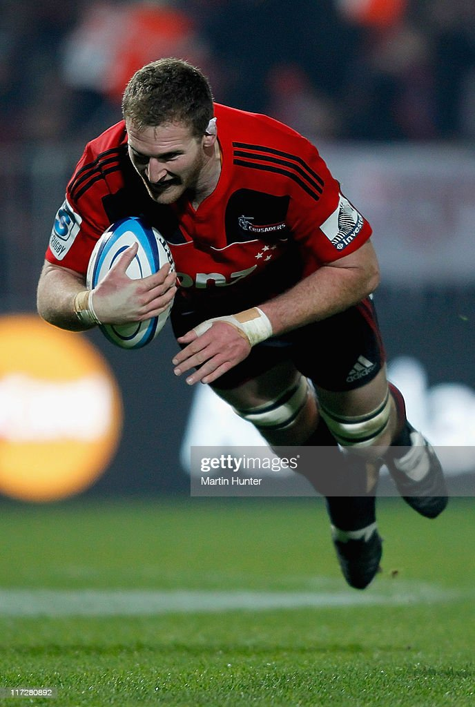 Kieran Read of the Crusaders dives over to score a try during the Super Rugby qualifier match between the Crusaders and the Sharks at Trafalgar Park...