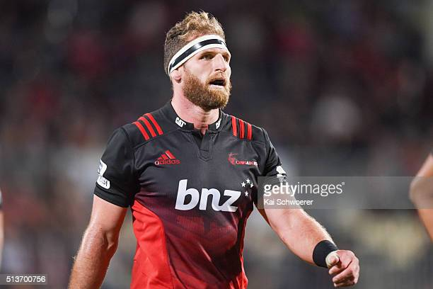 Kieran Read of the Crusaders looks on during the round two Super Rugby match between the Crusaders and the Blues at AMI Stadium on March 4 2016 in...