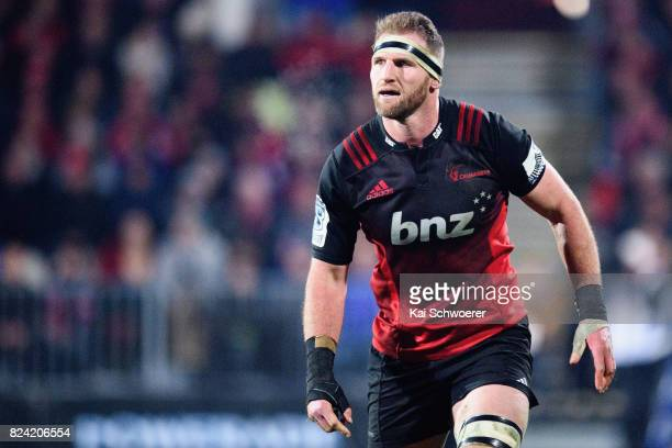 Kieran Read of the Crusaders looks on during the Super Rugby Semi Final match between the Crusaders and the Chiefs at AMI Stadium on July 29 2017 in...