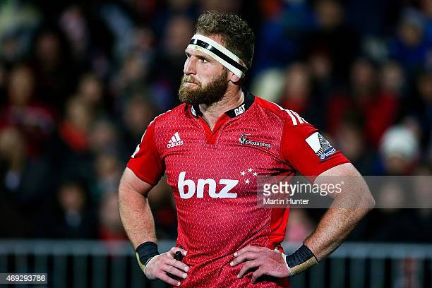 Kieran Read of the Crusaders reacts after the round nine Super Rugby match between the Crusaders and the Highlanders at AMI Stadium on April 11 2015...
