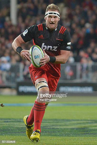 Kieran Read of the Crusaders runs with the ball during the round eight Super Rugby match between the Crusaders and the Jaguares at AMI Stadium on...