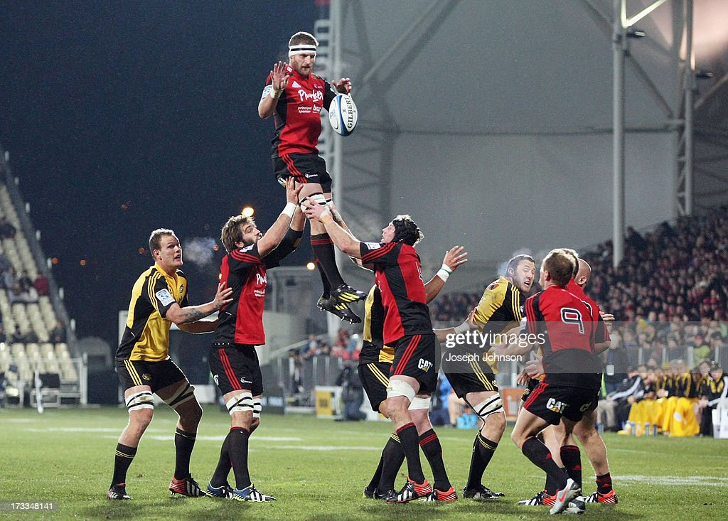 <a gi-track='captionPersonalityLinkClicked' href=/galleries/search?phrase=Kieran+Read&family=editorial&specificpeople=789465 ng-click='$event.stopPropagation()'>Kieran Read</a> of the Crusaders wins a lineout during the round 20 Super Rugby match between the Crusaders and the Hurricanes at AMI Stadium on July 12, 2013 in Christchurch, New Zealand.