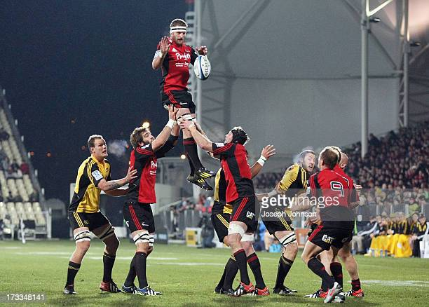 Kieran Read of the Crusaders wins a lineout during the round 20 Super Rugby match between the Crusaders and the Hurricanes at AMI Stadium on July 12...
