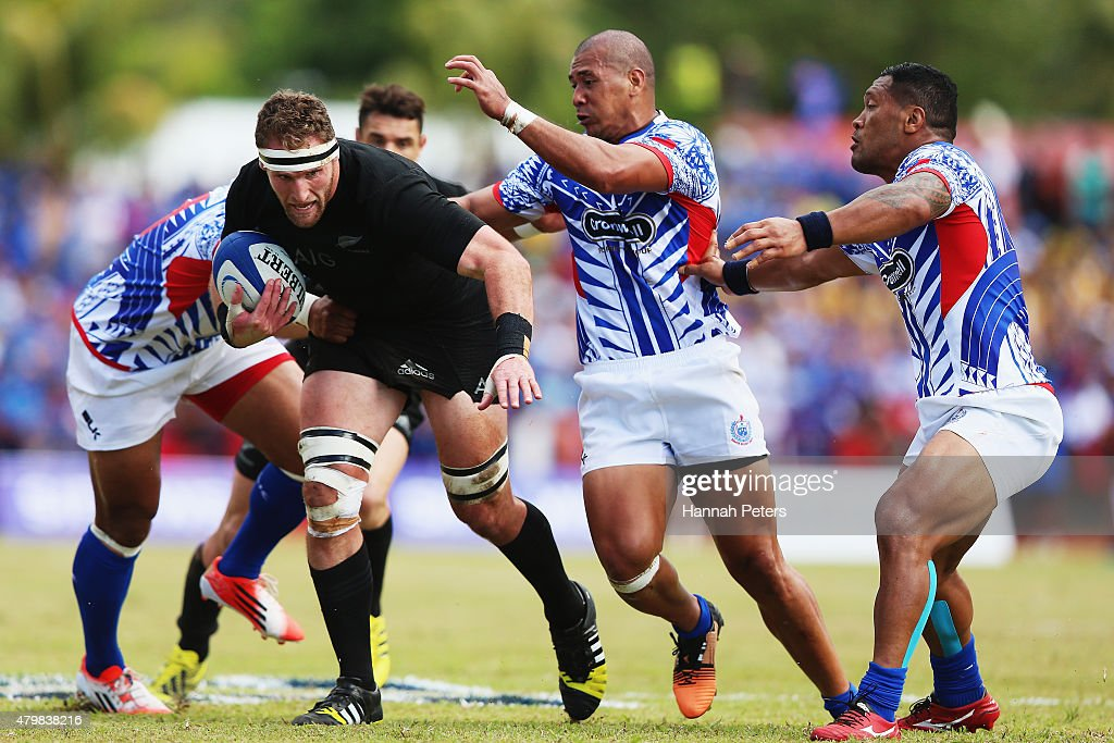 Kieran Read of the New Zealand All Blacks charges forward during the International Test match between Samoa and the New Zealand All Blacks at Apia...