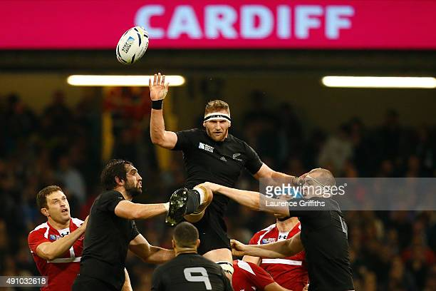 Kieran Read of the New Zealand All Blacks collects the line out ball during the 2015 Rugby World Cup Pool C match between New Zealand and Georgia at...