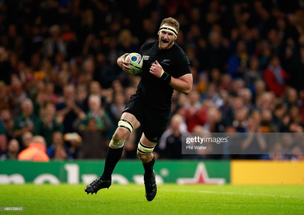Kieran Read of the New Zealand All Blacks goes through to score his team's seventh try during the 2015 Rugby World Cup Quarter Final match between...