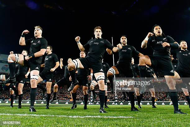 Kieran Read Richie McCaw and Ma'a Nonu of the All Blacks perform the haka during The Rugby Championship Bledisloe Cup match between the New Zealand...