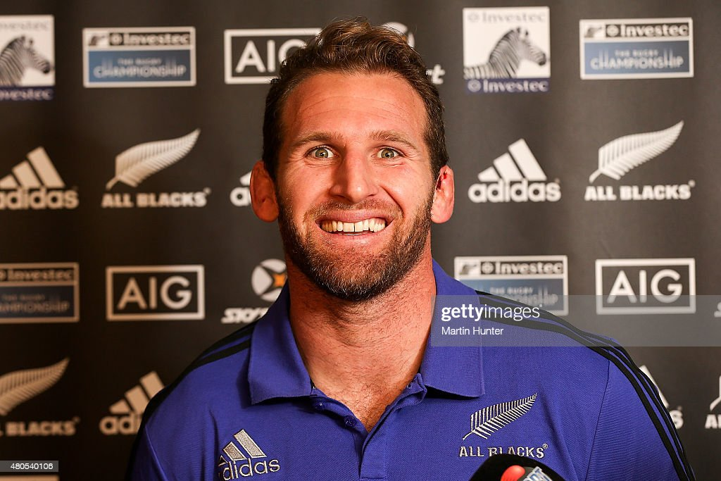 Kieran Read speaks to media after a New Zealand All Blacks training session at Rugby Park on July 13, 2015 in Christchurch, New Zealand.