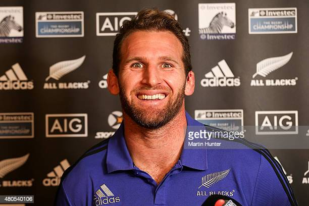 Kieran Read speaks to media after a New Zealand All Blacks training session at Rugby Park on July 13 2015 in Christchurch New Zealand