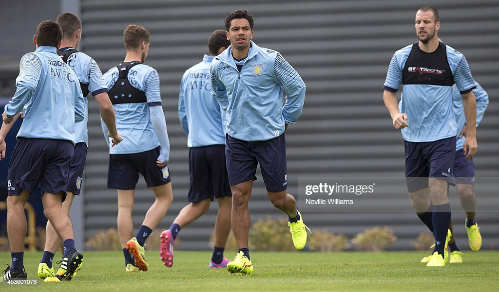 Kieran Richardson of Aston Villa in action during an Aston Villa training session at the club's training ground at Bodymoor Heath on August 14, 2014 in Birmingham, England.