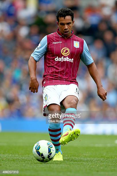 Kieran Richardson of Aston Villa in action during the Barclays Premier League match between Chelsea and Aston Villa at Stamford Bridge on September...